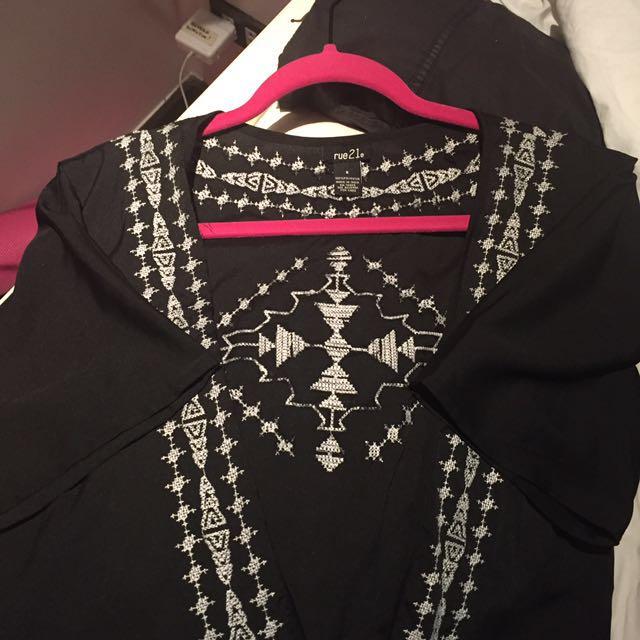 Embroidered Kimono Cover-up w/ Fringe