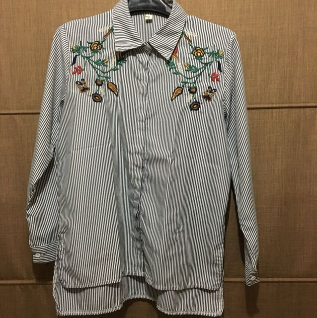 Flower embroidery loose top