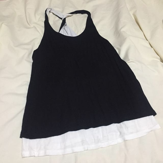 Forever21 Black Tank Top with White Inner Lining