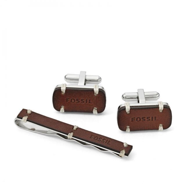 Fossil Cufflinks and Tie Pin Set