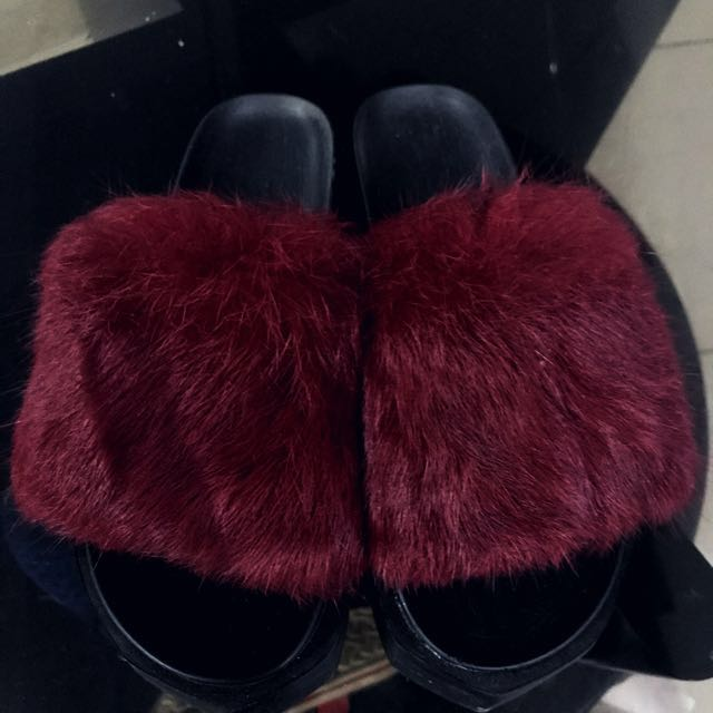 Fur Thick Sole Sandals