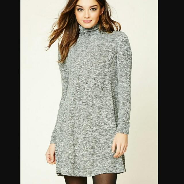 GREY TURTLENECK DRESS