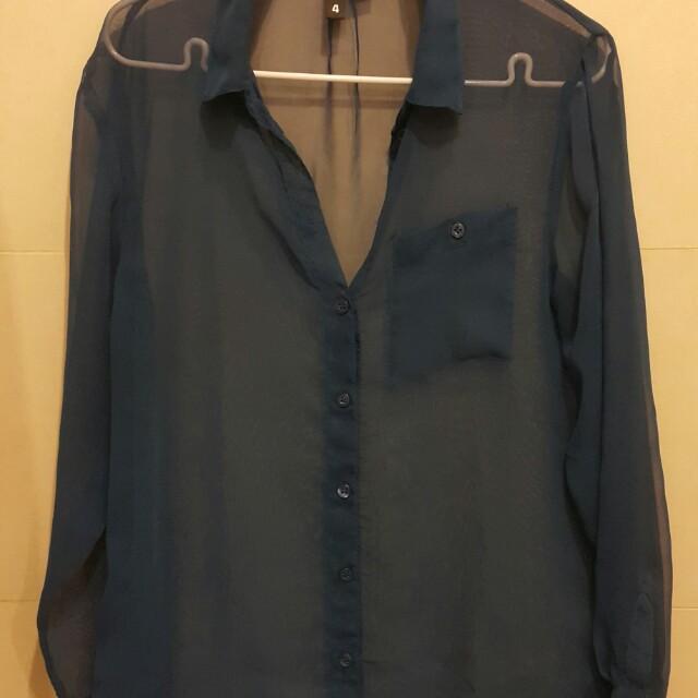 H&M electric blue blouse