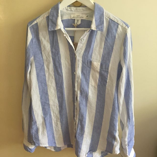 H&M linen cotton striped shirt