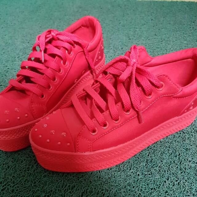 香港i.t 紅色 厚底 休閒鞋 球鞋 37號 #手滑買太多