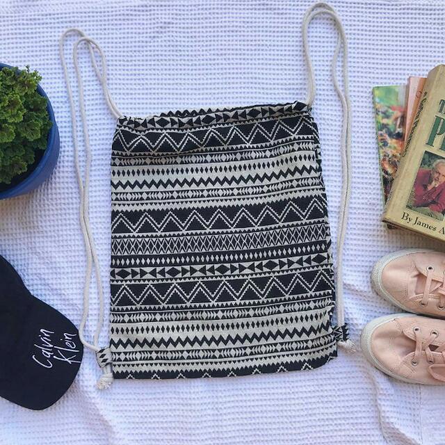 Knitted Aztec Black String Bag