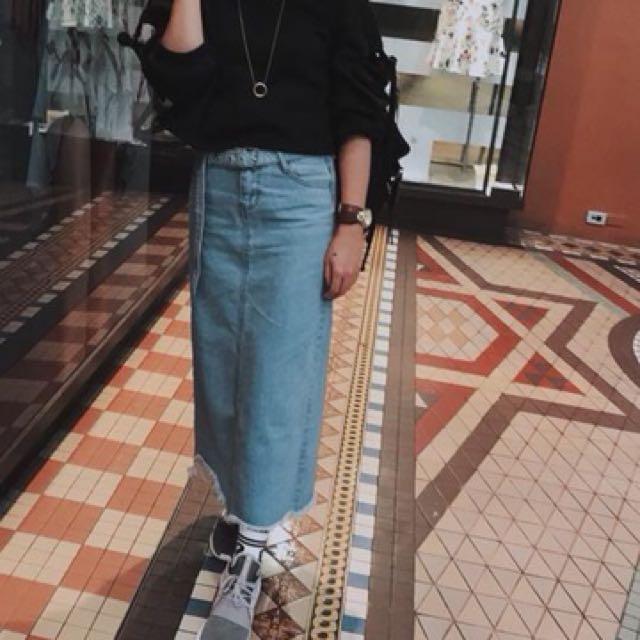 Korean style longline denim skirt