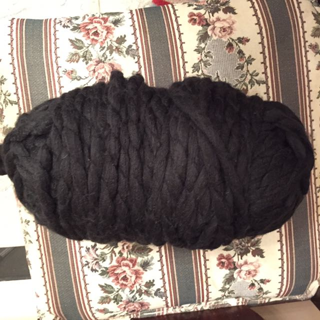 Large black yarn ball