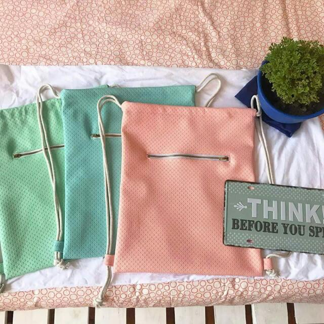 Leather Pastel String  Bags