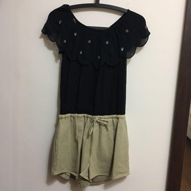 日牌LM  雪紡拼接棉麻感連身短褲
