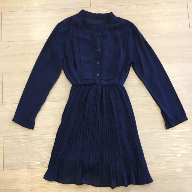 Long sleeve button up pleated dress