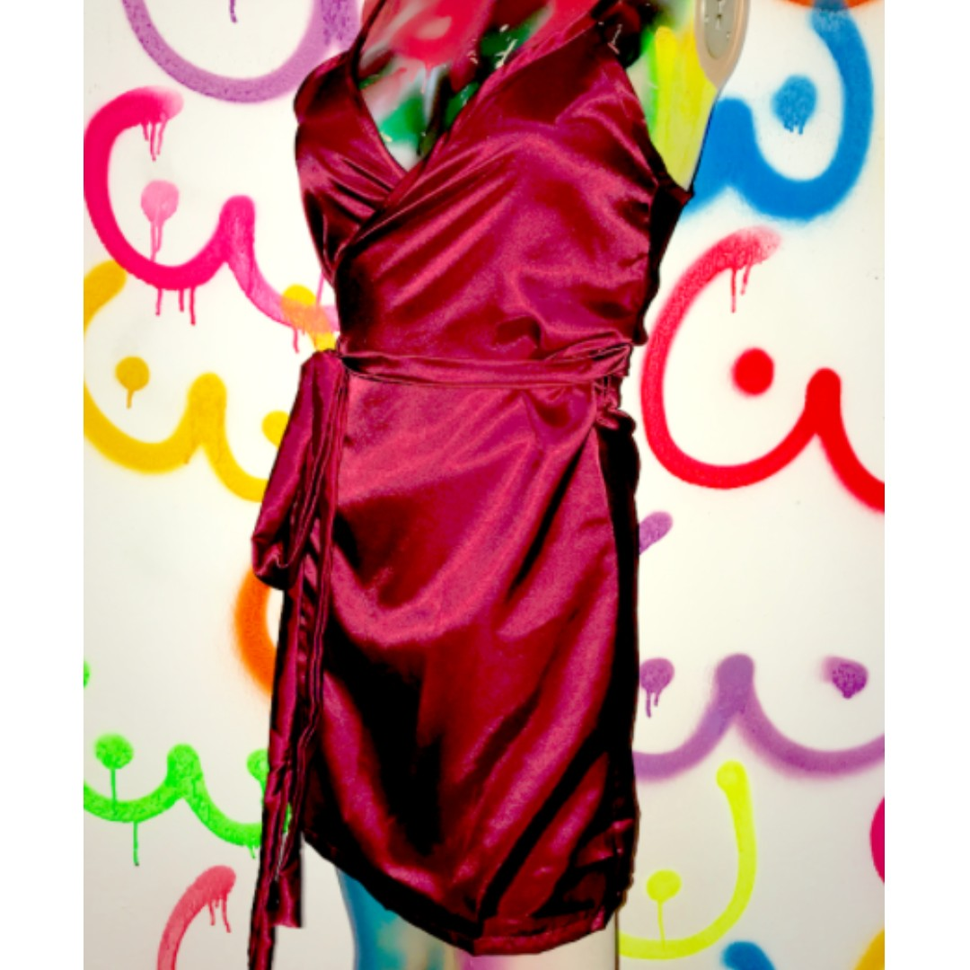NEW with tags Red O-mighty Silk Wrap Dress Omweekend o'mighty