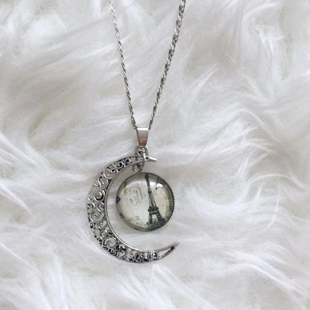Paris Pendant and Crescent Necklace