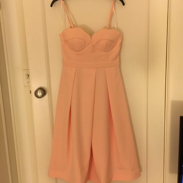 Peach Formal Dress. Size 8. WORN ONCE.