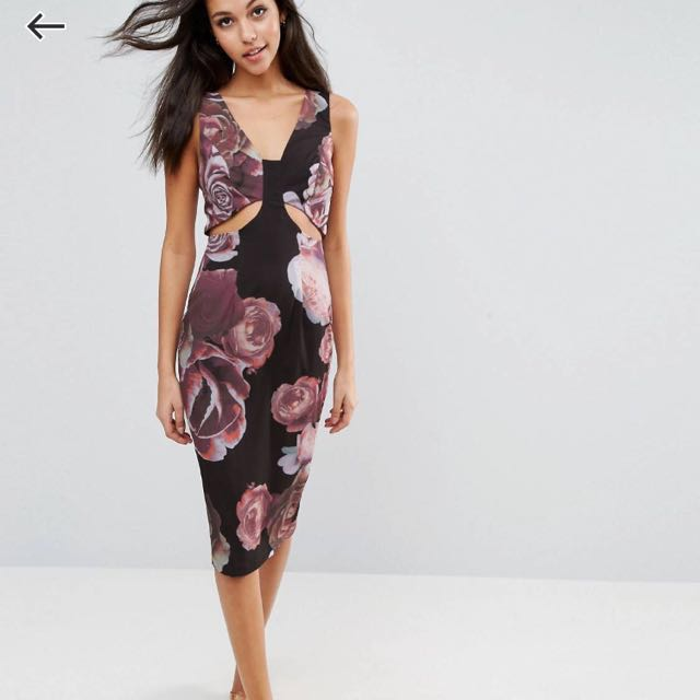 c9b515b1dc RRP$97 BNWT ASOS Dark Floral Soft Cut Out Pencil Dress, Women's Fashion,  Clothes, Dresses & Skirts on Carousell
