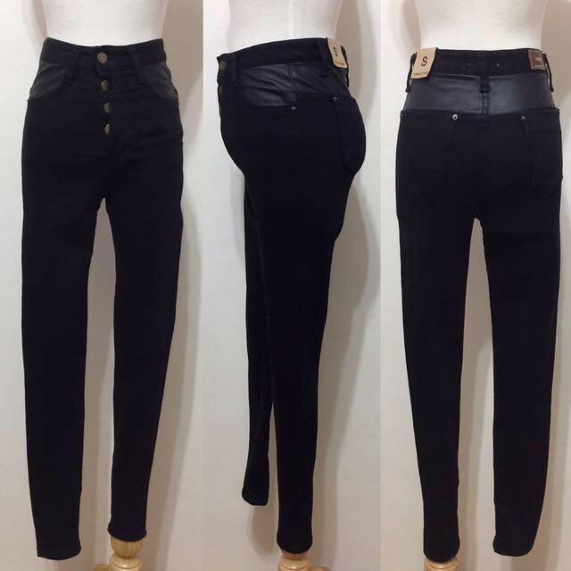 全新,韓製,高腰超顯瘦釦釦皮革拚接窄管牛仔褲,S