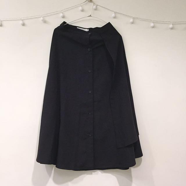 韓國造型黑色厚雪紡長裙(s)