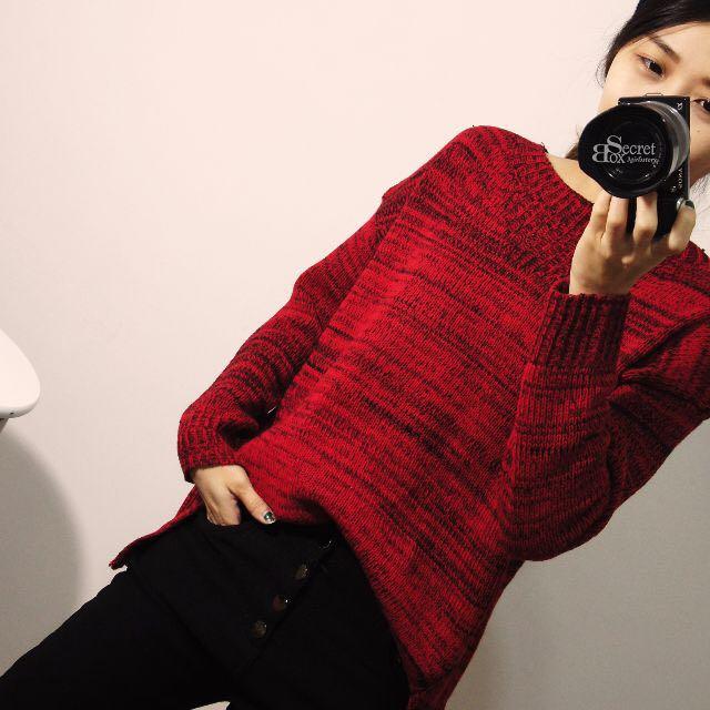 【SB】寬領設計下開岔混色毛衣
