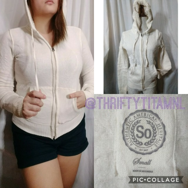 So Authentic American Heritage White Hoodie Small