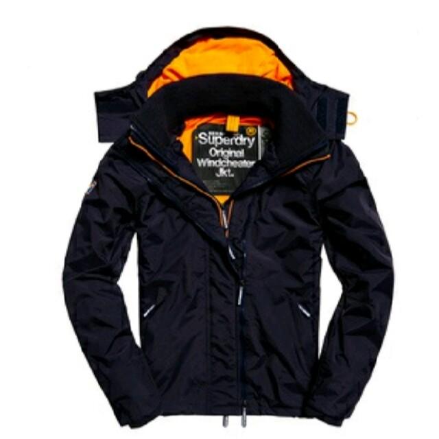 SUPERDRY極度乾燥 男生Windcheater連帽防風夾克 橘色刷毛內襯 深藍