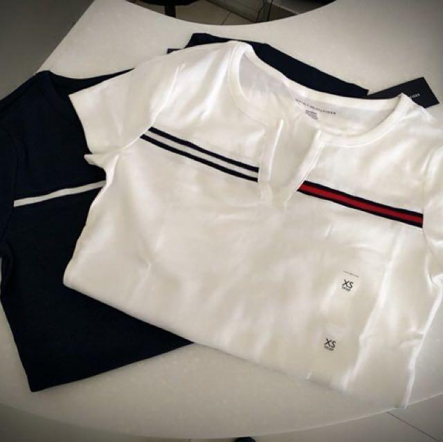 Tommy 開襟 v領 白色上衣 xs