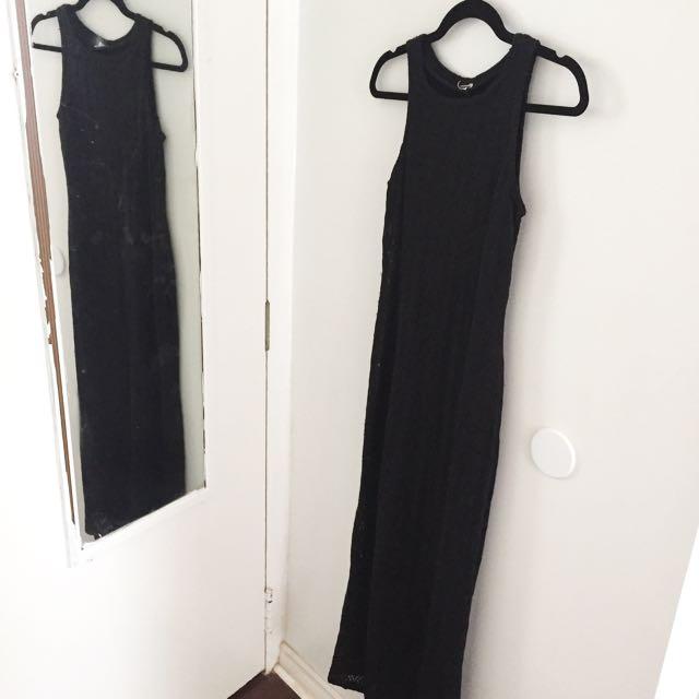 Vintage Black Maxi Dress - S