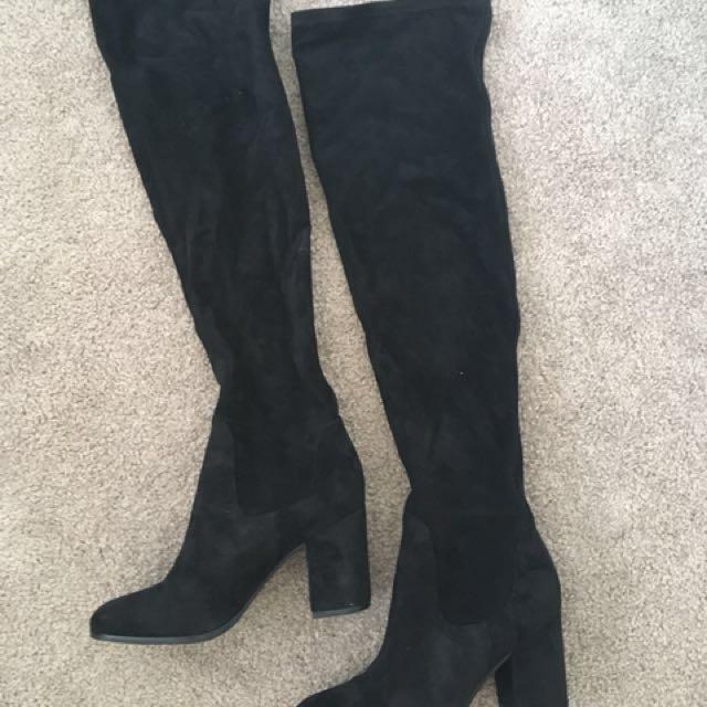 da9df7643b9 Wittner Ebony Over The Knee Boots Sz 38, Women's Fashion, Shoes on ...