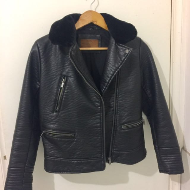 Zara PVC Leather Black Jacket