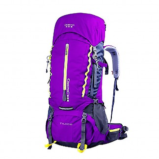 60L Waterproof Camping Climbing Backpack Rucksack, Purple