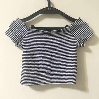 降❗️近全新✨ H&M 藍色條紋短版上衣