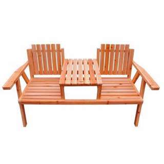 Garden Seat - Outdoor Wooden Park Bench with Table NEW