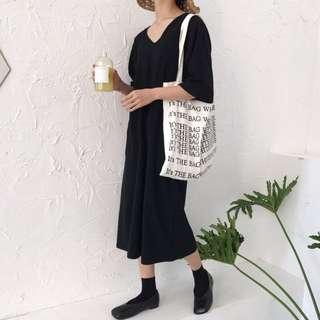 🚚 黑色V領寬鬆洋裝