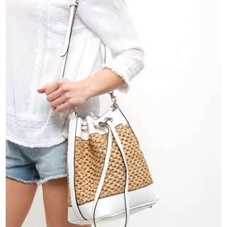 New Look White Straw Duffle Bag