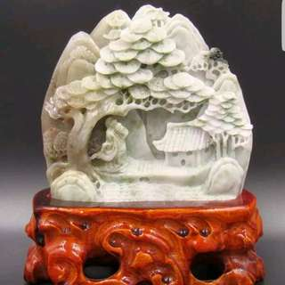 #1212YES Beautiful Raw Hand Carved Jade Scenery Landscape for display comes with wooden stand 玉石水晶