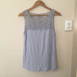 Forever New Sz 10 Light Blue Top