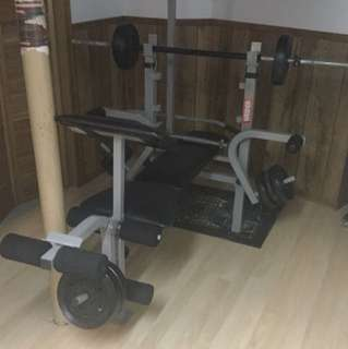 Black and grey exercise equipment.
