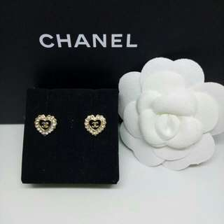 CC Gold And Black Tone Heart Shape Stud Earrings With Diamante