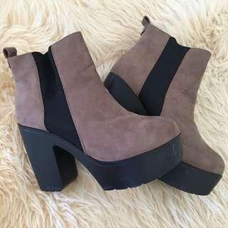 Chocolate brown boot heels