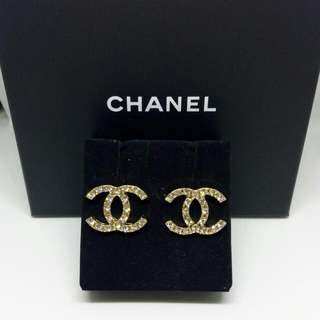 CC Logo Style Gold Tone Stud Earrings With Diamante