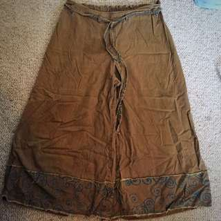 Boho Khaki Flared Pants
