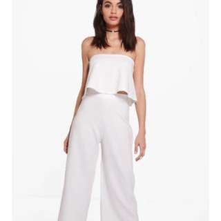 Boohoo Coord White Pants And Tube Top