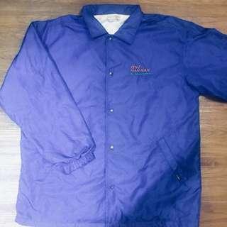🚚 古著 藍色 鋪棉 排扣 風衣 外套