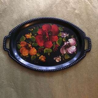 Vintage black hand painted oval metal serving tray flowers