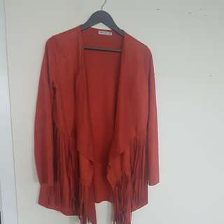 Light red / orange velvety jacket size 8