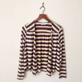 Costa Blanca Striped Open Cardigan