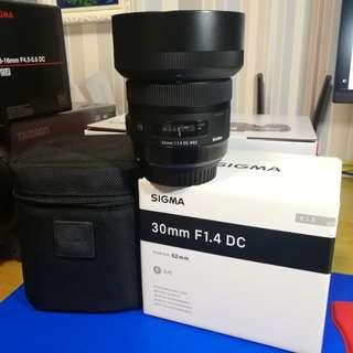 95%新 Sigma 30mm f/1.4 DC HSM ART (Canon mount) 連filter