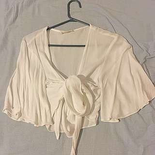 Mooloola White Front Tie Crop Top 3/4 Sleeves Size 12 Worn Once