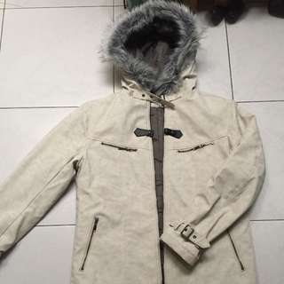 Reversible leather winter jacket with hood