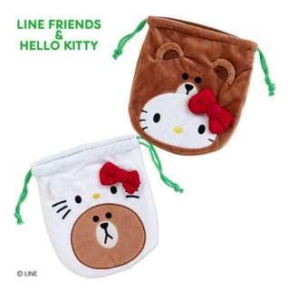 Line x Kitty 聯名 束口袋 熊大 凱蒂貓 Hello kitty日本代購
