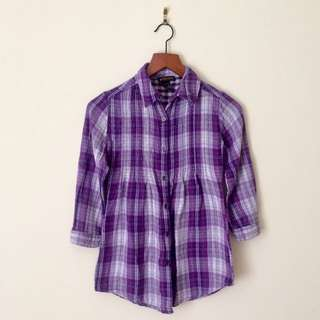 DEX Purple Plaid Shirt